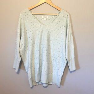 ELLE Mint Green Rhinestone Sweater Sz XL